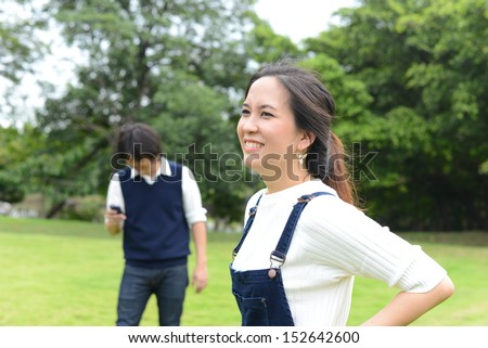Asian couple in the garden