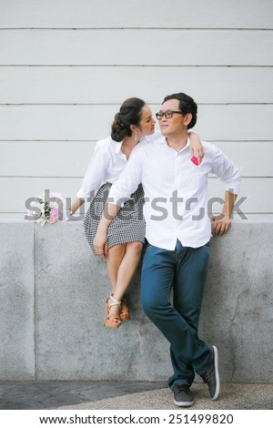 Asian couple is taking quality time together in Valentine's day. - stock photo