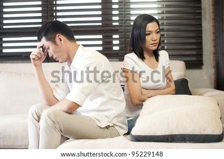 Asian Couple Unhappy - stock photo