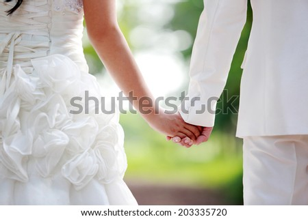 Asian couple with pre wedding scene out door background. - stock photo