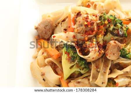 Asian cuisine, Chao fen Rice noodles and chicken stir fried - stock photo