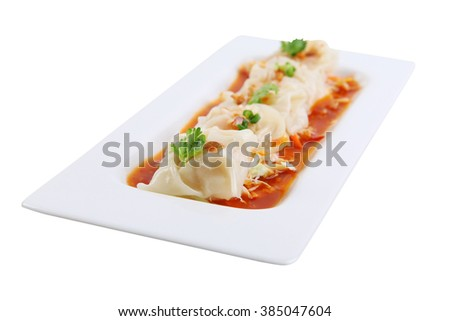Asian cuisine, Dimsum isolated on white plate - stock photo