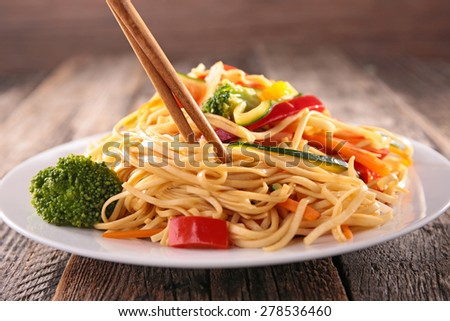asian cuisine,noodles and vegetables - stock photo