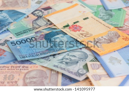 Asian currencies background of India, Indonesia and Malaysia