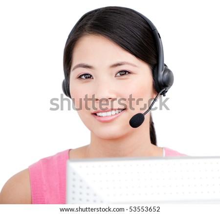 Asian customer service representative against a white background - stock photo