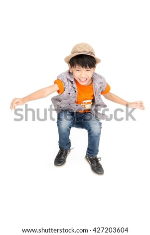Asian cute boy is jumping with smile face ,Isolated on white background