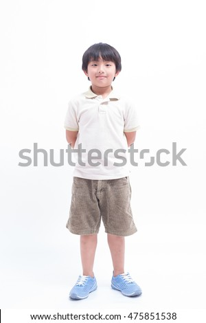 asian cute boy standing young child happy portrait children kid