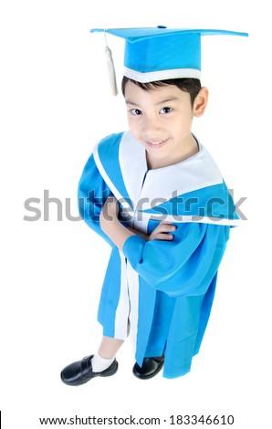 Asian cute Child in Kindergarten graduation uniform . - stock photo