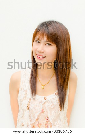 asian cute girl smiling on white background