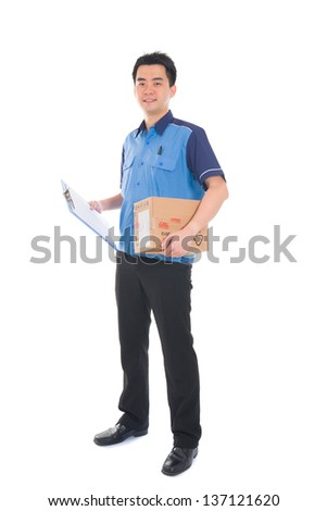 asian delivery dispatch boy delivering a package isolated against white background - stock photo