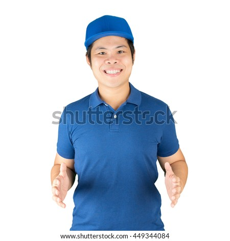 asian delivery man isolated on white - stock photo