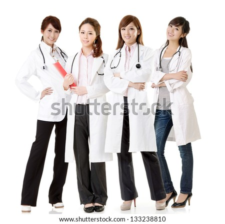 Asian doctor team, group of people about healthy and medical concepts isolated on white background.