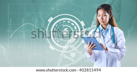 Asian doctor using tablet against image of a dna