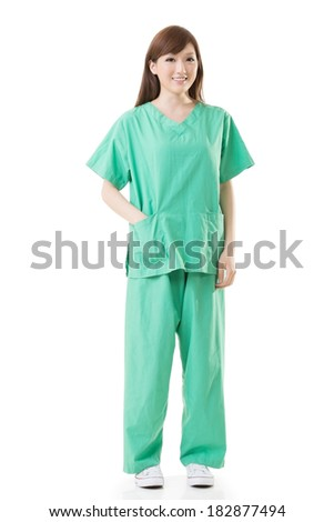 Asian doctor woman wear a isolation gown or operation gown in green color, full length portrait isolated on white. - stock photo