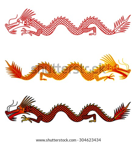 Asian dragons set on white background - stock photo