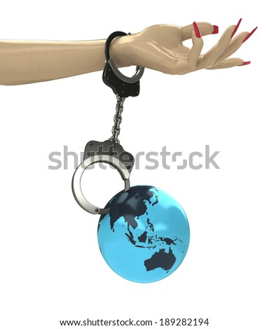 Asian earth globe attached with chain to human hand illustration - stock photo