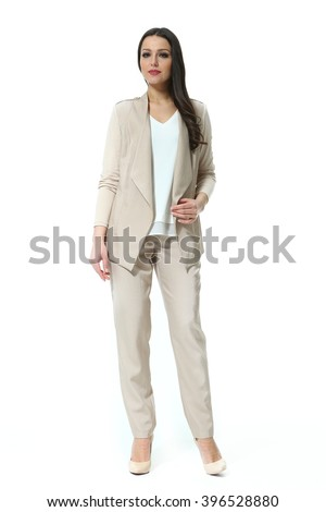 asian eastern brown hair business executive woman with straight hair style in cream jacket and trousers casual summer suit high heel shoes going full body length isolated on white - stock photo