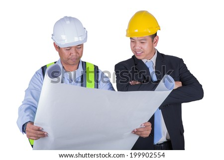 Asian engineer and worker leader discus for drawing detail in isolated white background and clipping part. - stock photo