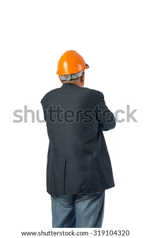 Asian engineer behind with overload tool isolated on white background with clipping path.