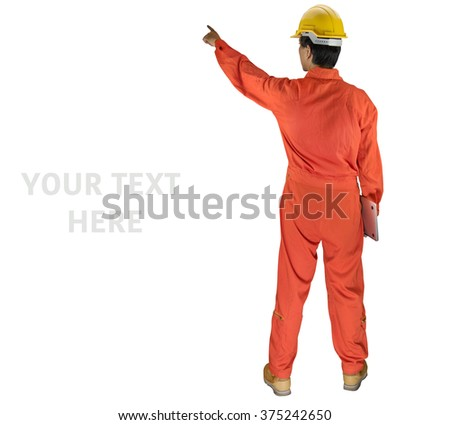 Asian engineer isolated on white background