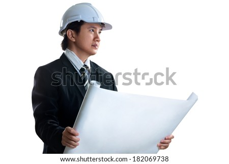Asian engineer, Isolated over white - stock photo