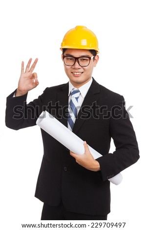 Asian engineer man show OK with blueprints  isolated on white background