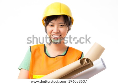 Asian engineer on isolated white background