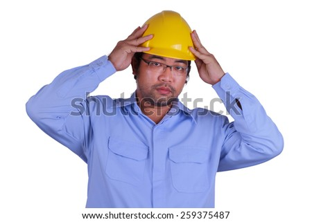 Asian engineer portrait on white background focus at eyes