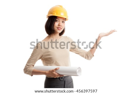 Asian engineer woman with blueprints show her palm hand isolated on white background