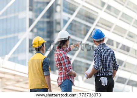 Asian engineers group consult construction on stock photo 773736073 asian engineers group consult construction on site building working while holding blueprint paper in city malvernweather Images