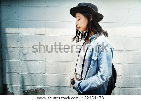 Asian Ethnicity Minimal Relaxation Happiness Girl Concept - stock photo