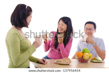 asian family dining iwht isolate white background - stock photo