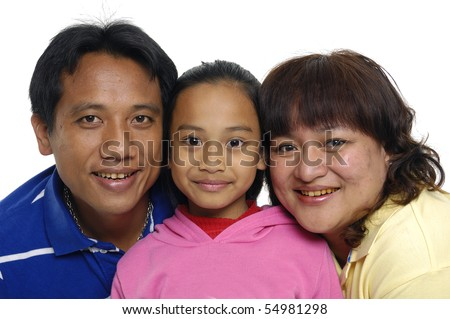 Asian family have a good time with their little daughter