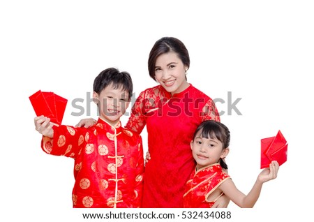 Asian family in chinese traditional dress holding red packet money over white
