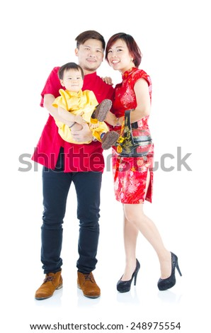 Asian family in traditional chinese cheongsam clothes. Chinese new year concept.