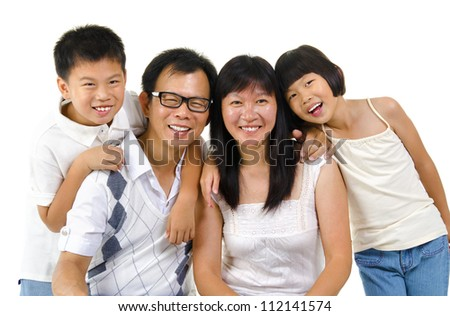 Asian family isolated on white background - stock photo