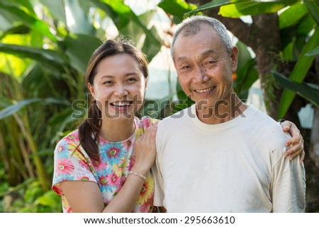 Asian Family portrait in studio house. - stock photo