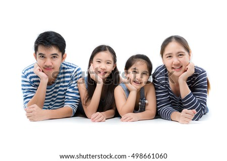 Asian family smiling and lying on isolated white background, Happy family