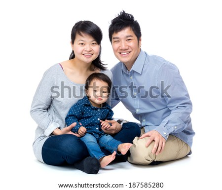 Asian family with baby daughter - stock photo
