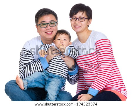 Asian family with baby son - stock photo