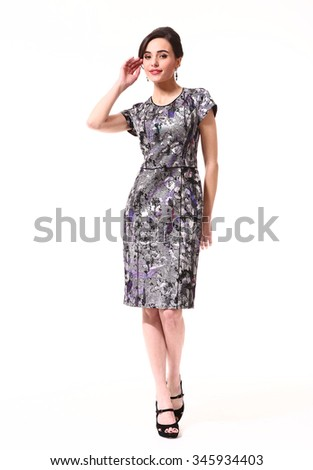 asian fashion model in summer dress full body photo isolated on white