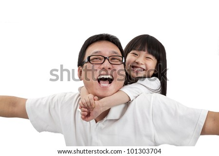 asian father and daughter isolated on white - stock photo