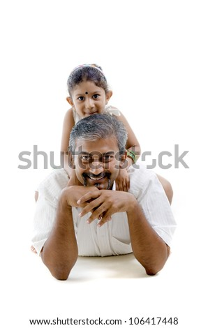 asian father and daughter laying - stock photo