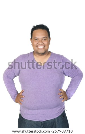 asian fatman isolated on white background - stock photo