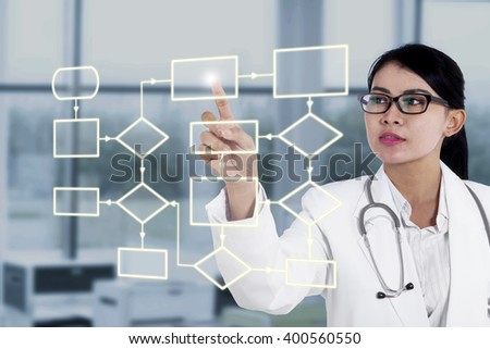 Asian female doctor pressing a button of the flowchart scheme on the futuristic screen at hospital - stock photo