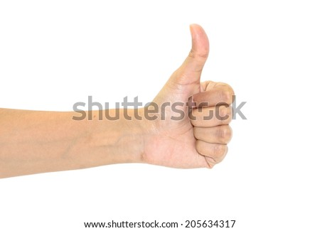 asian female hand showing thumbs up sign isolated on white background