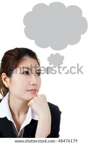 Asian female having a Thought Bubble, bubble shape generated by computer, can remove easily.