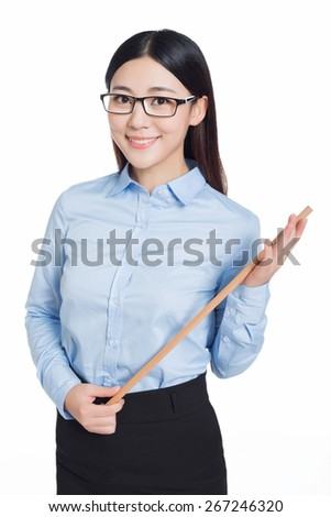 asian female teacher and holding a stick, standing on white background. - stock photo