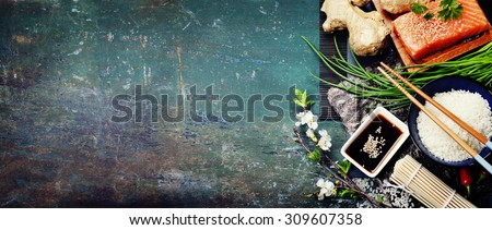 Asian food background (thaditional sushi ingredients) - stock photo
