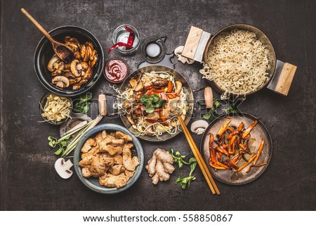 Cooking stock images royalty free images vectors shutterstock asian food cooking wok with noodles chicken stir fry and vegetables ingredients with spices forumfinder Gallery